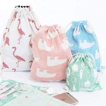 Animals Bear Flamingos Drawstring Bags Cinch String Backpack Funny Funky Cute Novelty