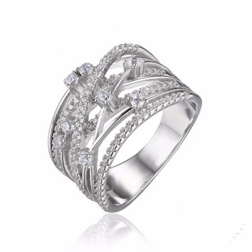 Silver Wide Band Cocktail Ring