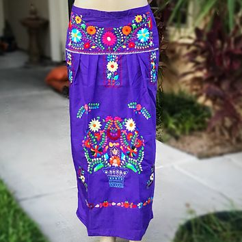 Mexican Embroidered Maxi Skirt Purple