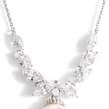 Women's Nadri Crystal & Faux Pearl Pendant Necklace - Rhodium