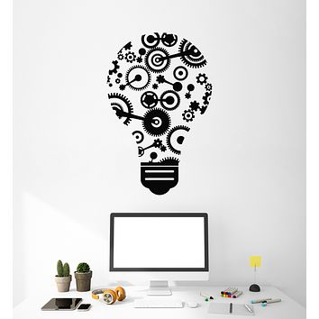 Vinyl Wall Decal Light Bulb Gears Idea Teamwork Office Space Decor Stickers Mural (g713)