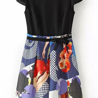 Black and Blue Cap Sleeve Abstract Print Dress