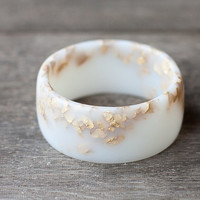 White Resin Bangle Gold Flakes Bracelet Milky Cream White Wide Cuff OOAK french vanilla autumn fall neutral rustic wedding bridal rusteam