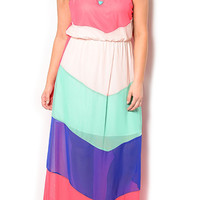 Coral Mint Plus Size Trendy Flowy Chevron Strapless Maxi Dress