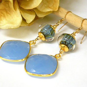 Unique Blue Lampwork and Chalcedony Earrings Handcrafted Gemstone Long Gold Dangle