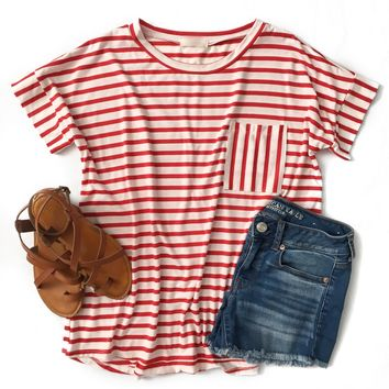 Red Striped Pocket Top - Last One! Size Small