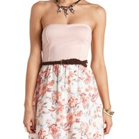 FLORAL PRINT BELTED STRAPLESS DRESS