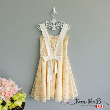 SALE - Butter Lace Dress Vintage Design Party Tea Dress White Straps Bow Back Dress Small