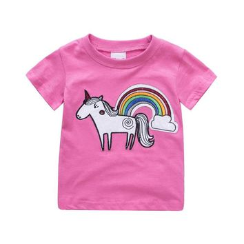 Baby girls new designed summer t shirts kids hot selling cartoon t shirt with applique a cute unicorn top quality kids clothing