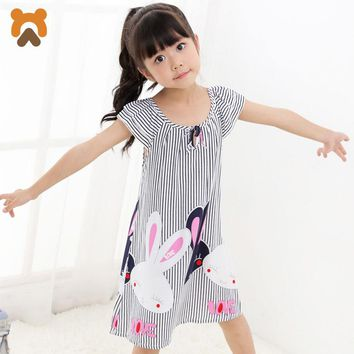Girls Bunny or Kitty Nightgowns Short Sleeve Striped Super-soft Modal fabric