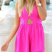Pink V-Neck Cut Out Pleated Romper