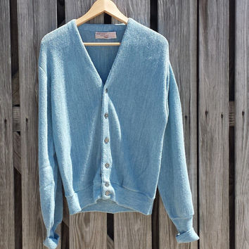 Vintage Grandpa, Hipster THE FOX SWEATER Cardigan Light Blue - S/M