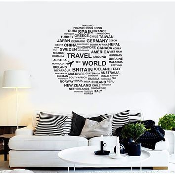 Vinyl Wall Decal Travel World Country Tourism Tourist Agency Decor Stickers Mural (ig6147)