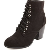 LACE-UP CHUNKY HEEL BOOTIE
