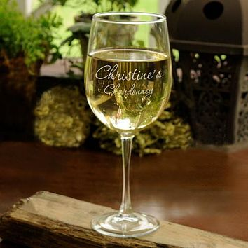 Personalized White Wine Glass Free Engraving