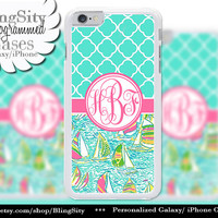 Monogram Sailboats Quatrefoil iPhone 5C 6 Case 6 Plus iPhone 5s 4 case Ipod 4 5 Touch Cover Aqua Pink Coral Personalized