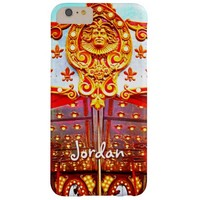 Vintage retro carousel gold face photo custom name barely there iPhone 6 plus case