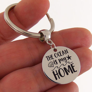 The ocean is my home keychain, the ocean is my home quote, quote keychain, quote key chain, beach gift, ocean gifts, ocean key ring, beach