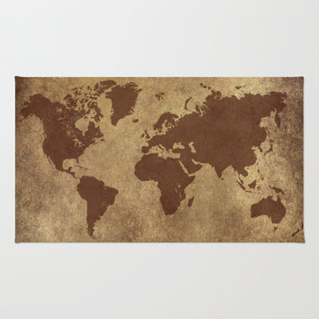 World Map Floor Rug, World Map Home Decor, Boy's Room Decor, Dorm Room Decor, for Study, for Men