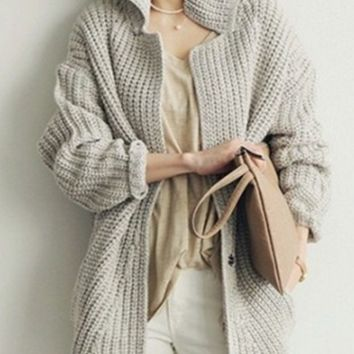 Simple long section of loose big yards thick knit cardigan sweater coat female