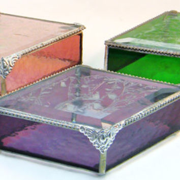 "Bridesmaid Gifts Stained Glass Jewelry Boxes, Diamond Shape 4 X 7"" Set of 6, Color Match Your Wedding or Event, Quinceanera"