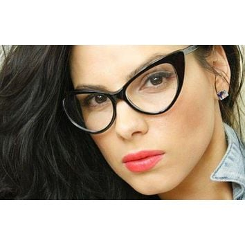 55eafde753 Retro 60s 70s Fashion Design Clear Lens Cat Eye Frame Women Eye
