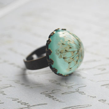 Real Flower Ring Resin Jewelry Mint Jade by NaturalPrettyThings