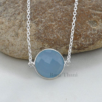 Blue Chalcedony Round Faceted 15mm 925 Sterling Silver Necklace #1839