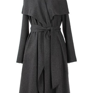 Vintage Turn-Down Collar Long Sleeve Coat with Belt