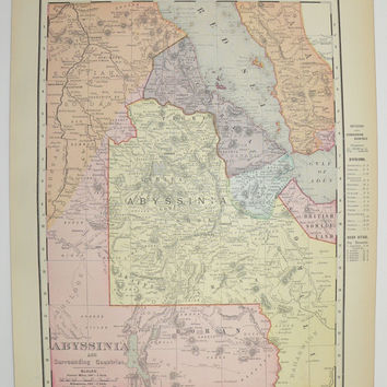 Antique Map Abyssinia Egypt Map Eritrea Africa 1901 NE Africa Map, Vintage African Decor Art, New Home Gift