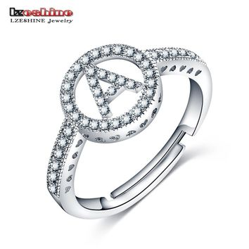 LZESHINE New Letter Rings Initial Alphabet A To Z Silver Color With AAA CZ Personality Adjustable Finger Rings Fashion Jewelry