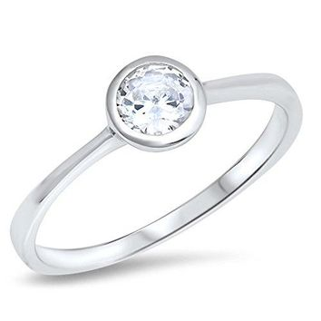 Bezel Round Solitaire White CZ Wedding Ring 925 Sterling Silver Band Sizes 410