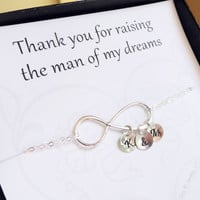 Mother of the Groom gift, Personalized infinity bracelet for Mom, Mother in Law gift,Thank you for raising the man of my dreams card,