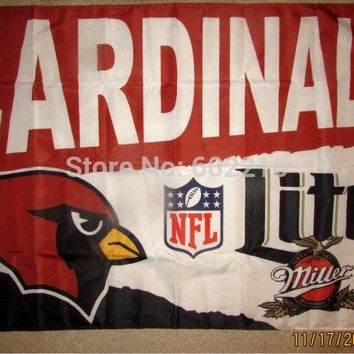 NEW Arizona Cardinals MILLER LITE 3x5 FEET FLAG BANNER 1996 Arizona Cardinals BEER NEW 3ft x 5ft Football Hockey USA Flag