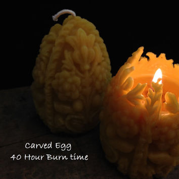 Beeswax Carved Egg Candle - Pure Beeswax Candles from Beekeepers Hive
