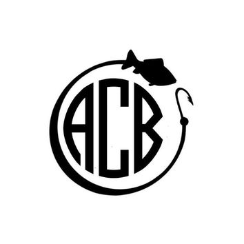 Fishing Monogram decal small and Med/Large