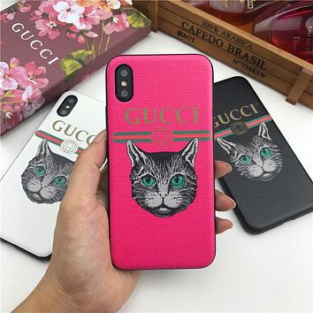 GUCCI Tide brand cat head printing letter iPhone XS Max phone case