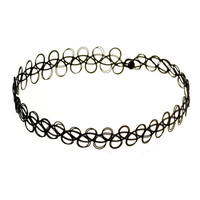 90's Handmade Black Tattoo Choker Necklace Vintage Elastic Stretch Gothic 80s NE012-B