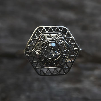 Hexagon Diamond Ring - One of a kind - Conversion Antique Filagree Diamond Ring - Ready to ship
