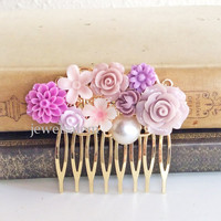 Orchid Wedding Hair Comb Gold Mauve Soft Lilac Purple Bridal Comb Flower Headpiece Floral Comb Romantic Shabby Chic Whimsical Vintage Style