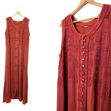 Maxi Indian Dress Floral Embroidered Long Festival Gypsy Sundress Burgundy Red Hippie Dress 90s Grunge Ethnic Boho Maxi Sun Dress Medium