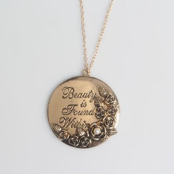 SG Hot Sale Beauty And The Beast Charm Necklace Engraving Letter Beauty is Found Within Rose Tag Pendant Women Jewelry