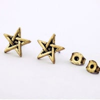 Vintage Antique Bronze Small Star Stud Earrings wholesale