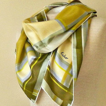 Vintage Silk Scarf by Echo. 1960s Designer Scarf. Long Silk Scarf. Plaid Scarf. Yellow. Green. Pastel Blue. Beige.