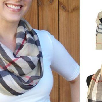 Chic Plaid Scarves-2 Styles Long or Circle-Perfect Gifts