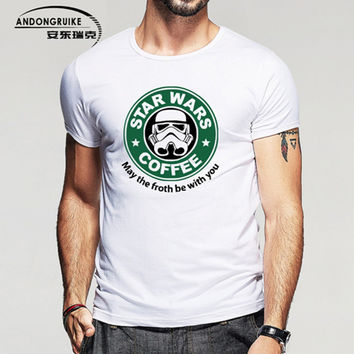 New Fashion Star Wars Darth Vader T Shirt Funny Design Pattern Men Tee Shirts Top Star Wars Coffee Mens Clothing Hot Plus Size