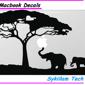 Mom and Child Elephant Under the Tree for Apple Logo Vinyl Sticker for Macbook Skin Air 11 13 Pro 13 15 17 Retina Laptop Decal