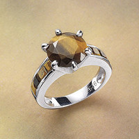Tiger Eye Ring - New Age, Spiritual Gifts, Yoga, Wicca, Gothic, Reiki, Celtic, Crystal, Tarot at Pyramid Collection