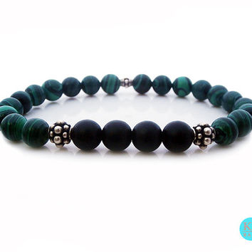 Men's Green Malachite and Matte Black Onyx 925 Sterling Silver Bracelet, Green Malachite and Black Onyx Bali Silver Beads Bracelet