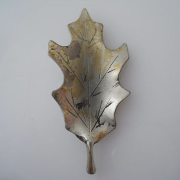 Sterling Silver 925 Oak Leaf Brooch Etched Stuart Nye Ster